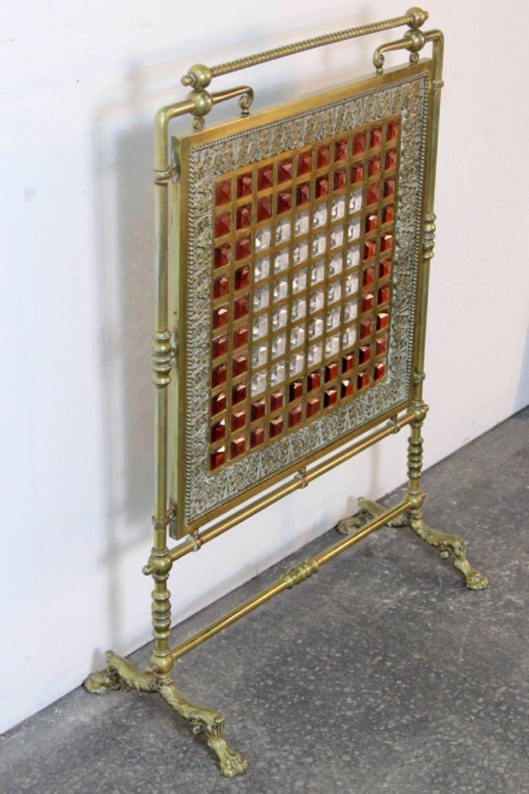 Antique Brass and Leaded Glass Fire Screen In Excellent Condition For Sale In Norwalk, CT