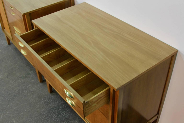 Pair of Midcentury Chests with Brass Detail For Sale 3