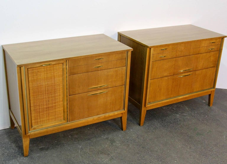 American Pair of Midcentury Chests with Brass Detail For Sale