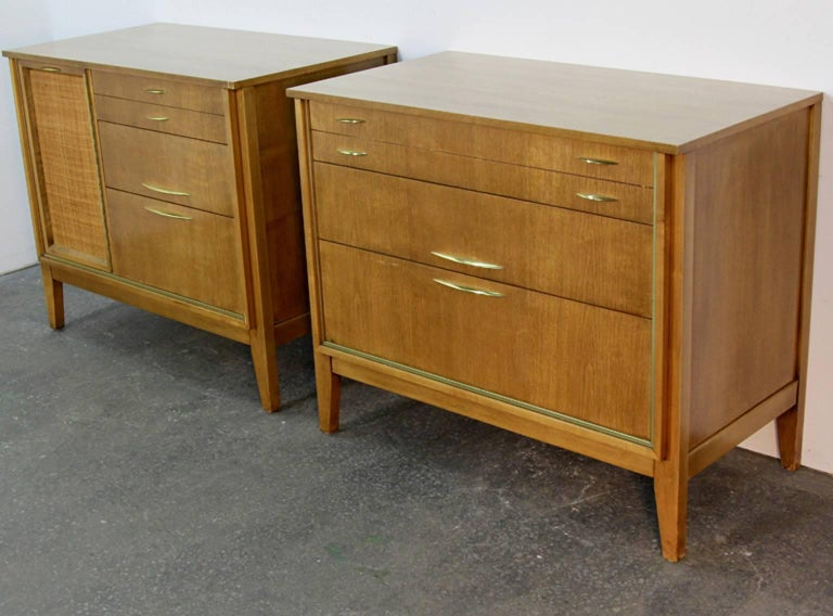Pair of Midcentury Chests with Brass Detail In Excellent Condition For Sale In Norwalk, CT