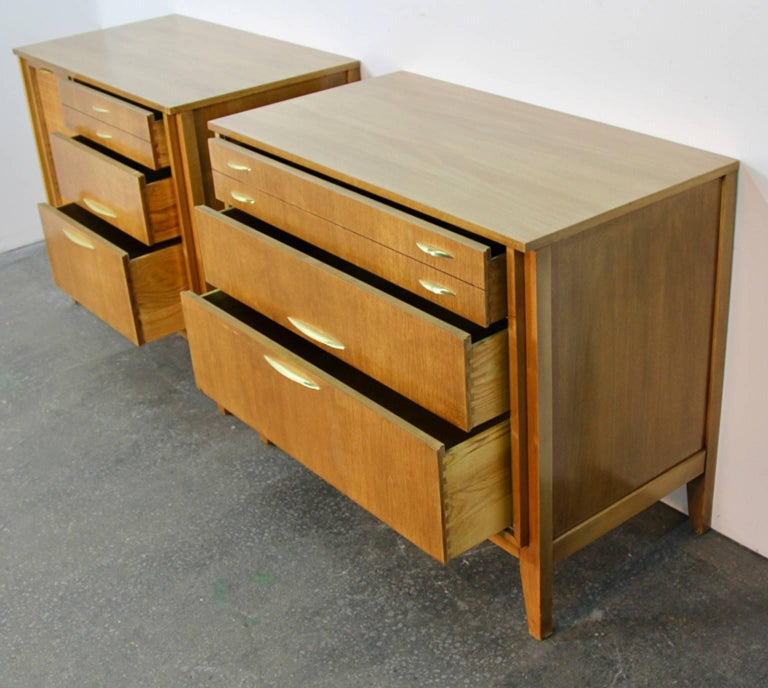 Pair of Midcentury Chests with Brass Detail For Sale 2