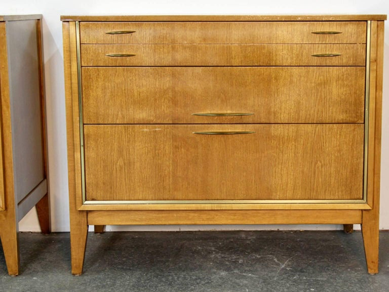 Mid-Century Modern Pair of Midcentury Chests with Brass Detail For Sale