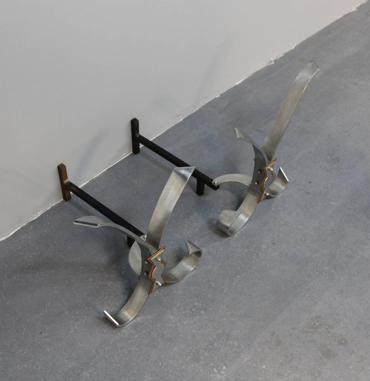 Polished Steel Andirons In Excellent Condition For Sale In Norwalk, CT