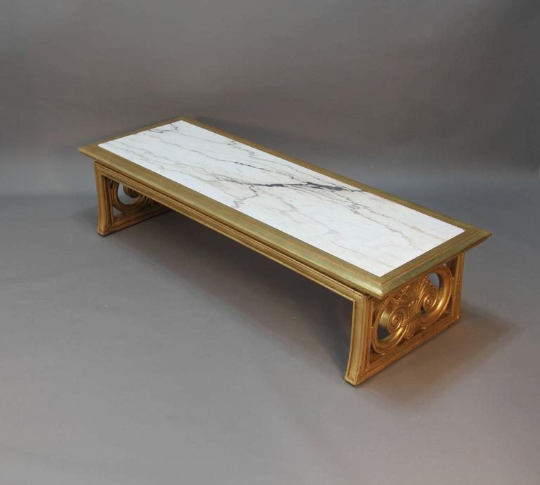 Gold Gilt Versailles Marble Top Coffee Table: Gold Gilt And Marble Coffee Table Neoclassical Style For