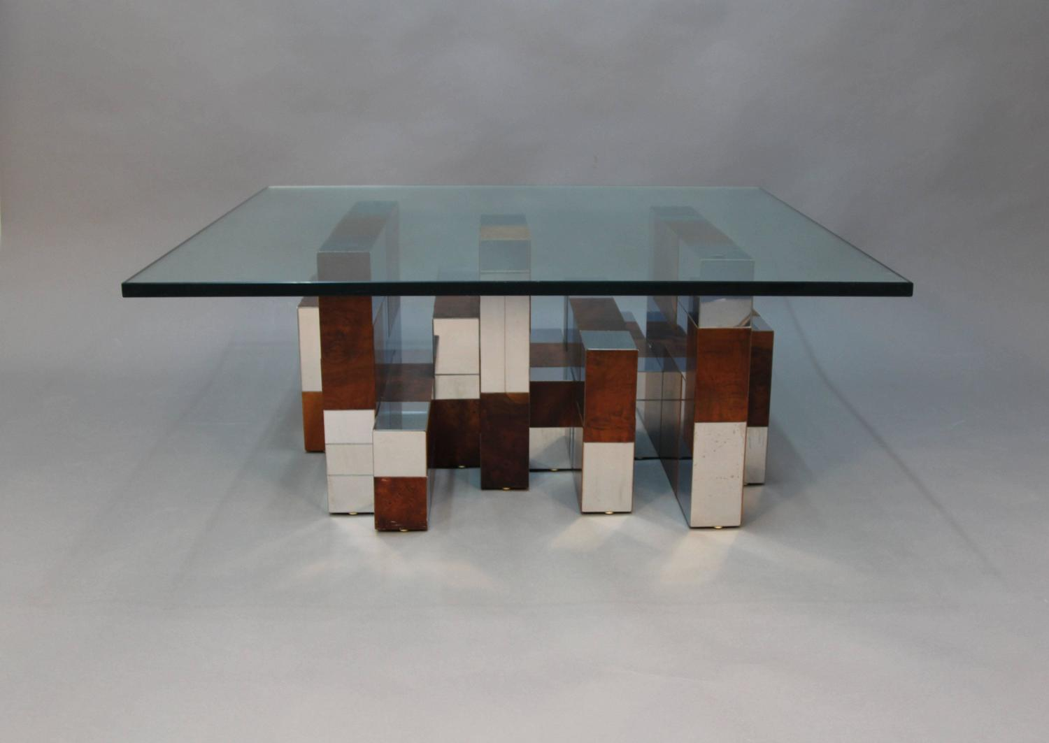 Paul Evans Burl Wood And Chrome Cityscape Coffee Table At 1stdibs