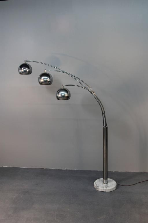 Chrome Three Headed Arc Lamp on Marble Base at 1stdibs