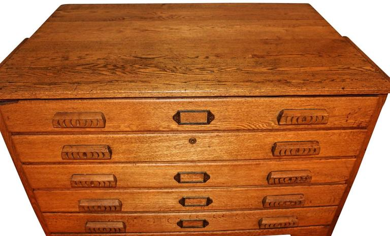 American Oak Map or Architect's Chest 3