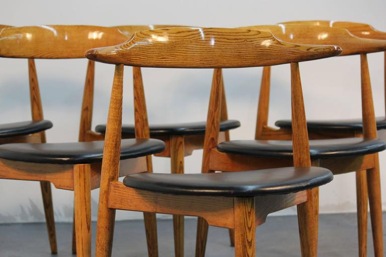Newly Refinished And Newly Upholstered In Black Vinyl U0026quot;Heartu0026quot;  Chairs By Hans Wegner