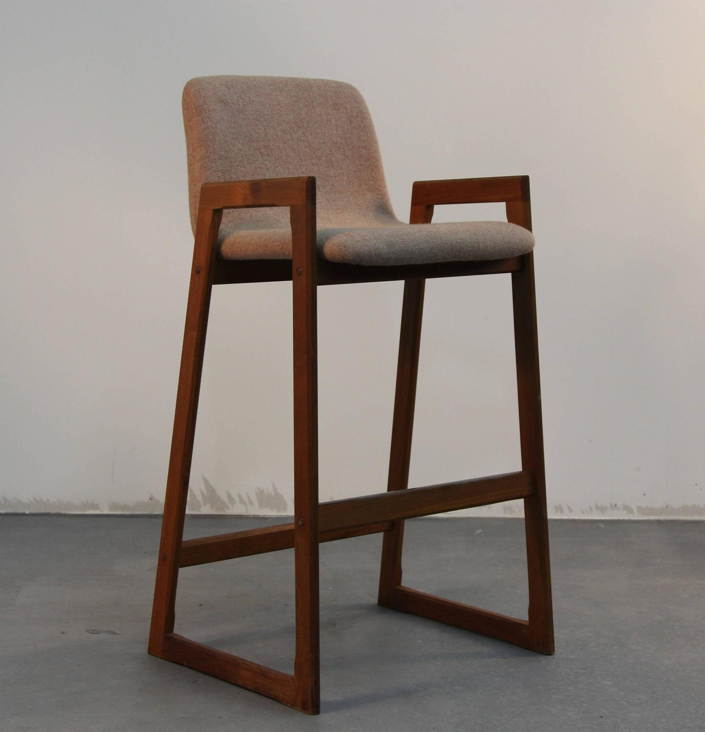 Pair Of Danish Teak And Upholstered Bar Stools At 1stdibs. Full resolution  image, nominally Width 1444 Height 1500 pixels, image with #362116.