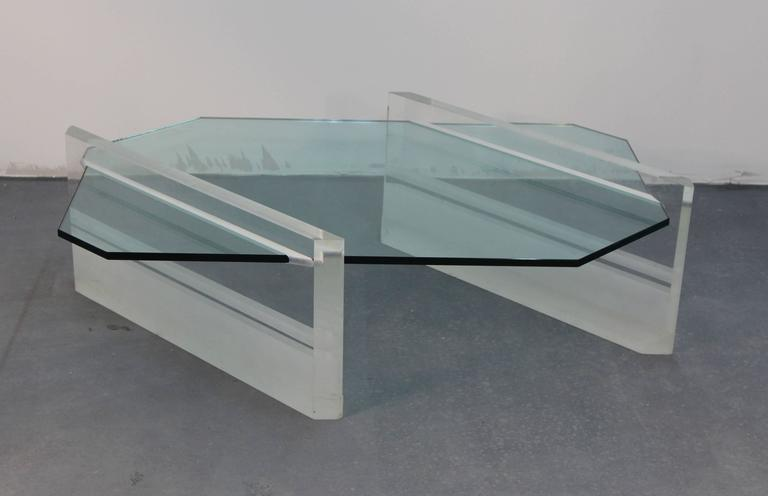 Mid-Century Modern Asymmetric Glass and Lucite Base Coffee Table