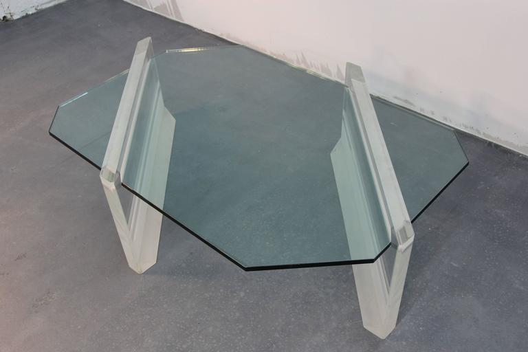 Mid-20th Century Asymmetric Glass and Lucite Base Coffee Table