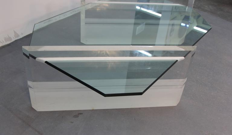 Asymmetric Glass and Lucite Base Coffee Table  1