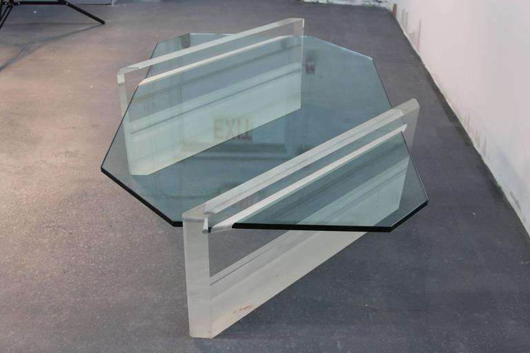 American Asymmetric Glass and Lucite Base Coffee Table