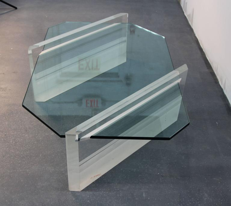 Asymmetric Glass and Lucite Base Coffee Table  In Good Condition In Norwalk, CT