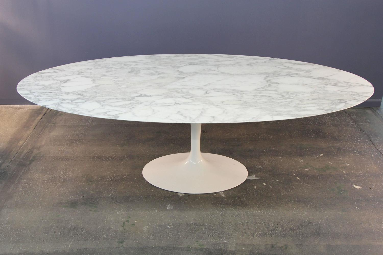 Eero Saarinen Marble Top Oval Dining Table For Knoll At 1stdibs