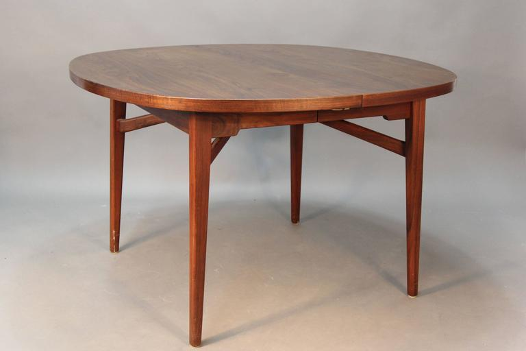 Jens Risom Walnut Floating Top Dining Table At 1stdibs