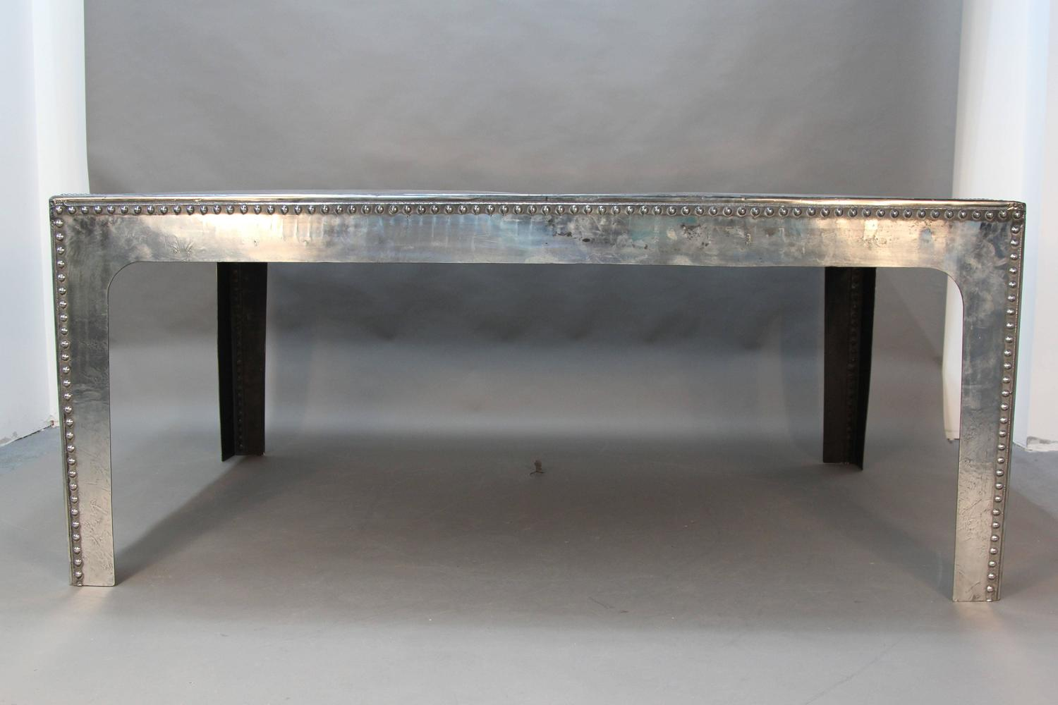 Rare large size polished steel english water tank table