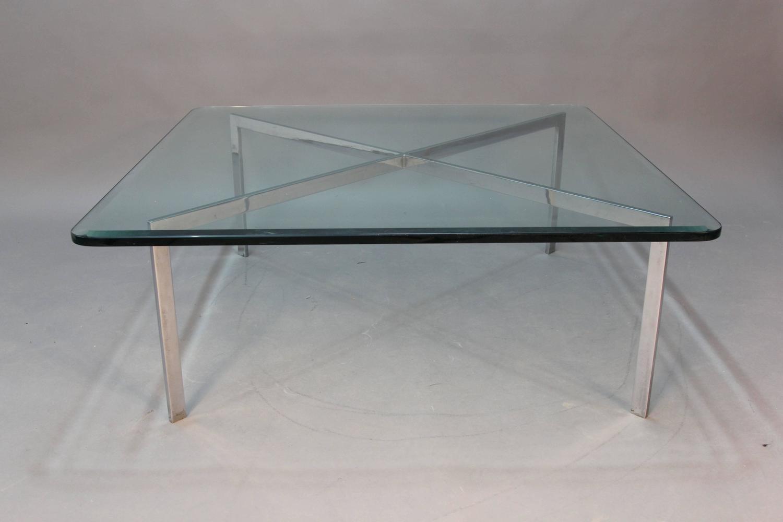 Chrome Barcelona Glass Top Coffee Table At 1stdibs