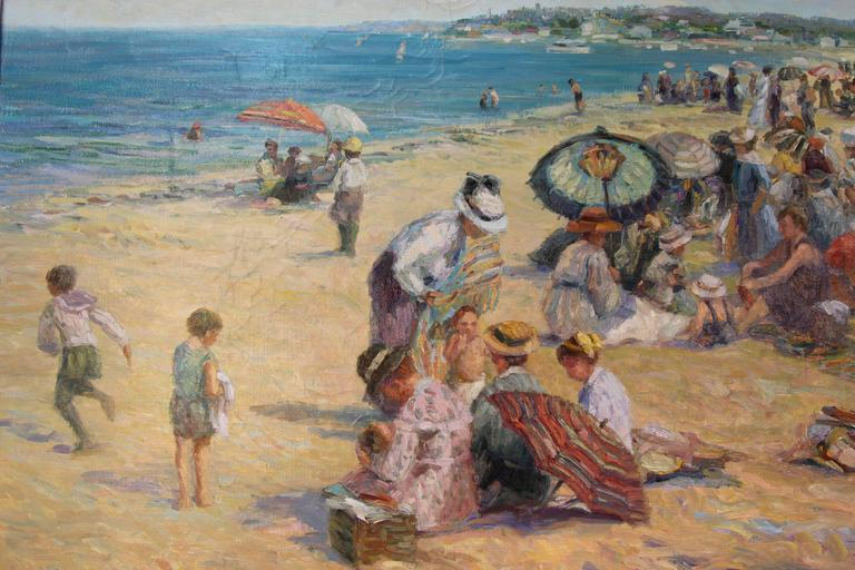 """Patrick Ryan """"At The Beach"""" Oil Painting For Sale at 1stdibs"""