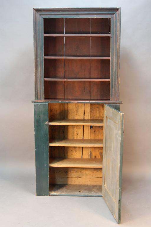 Primitive 18th Century Stepback Cupboard For Sale