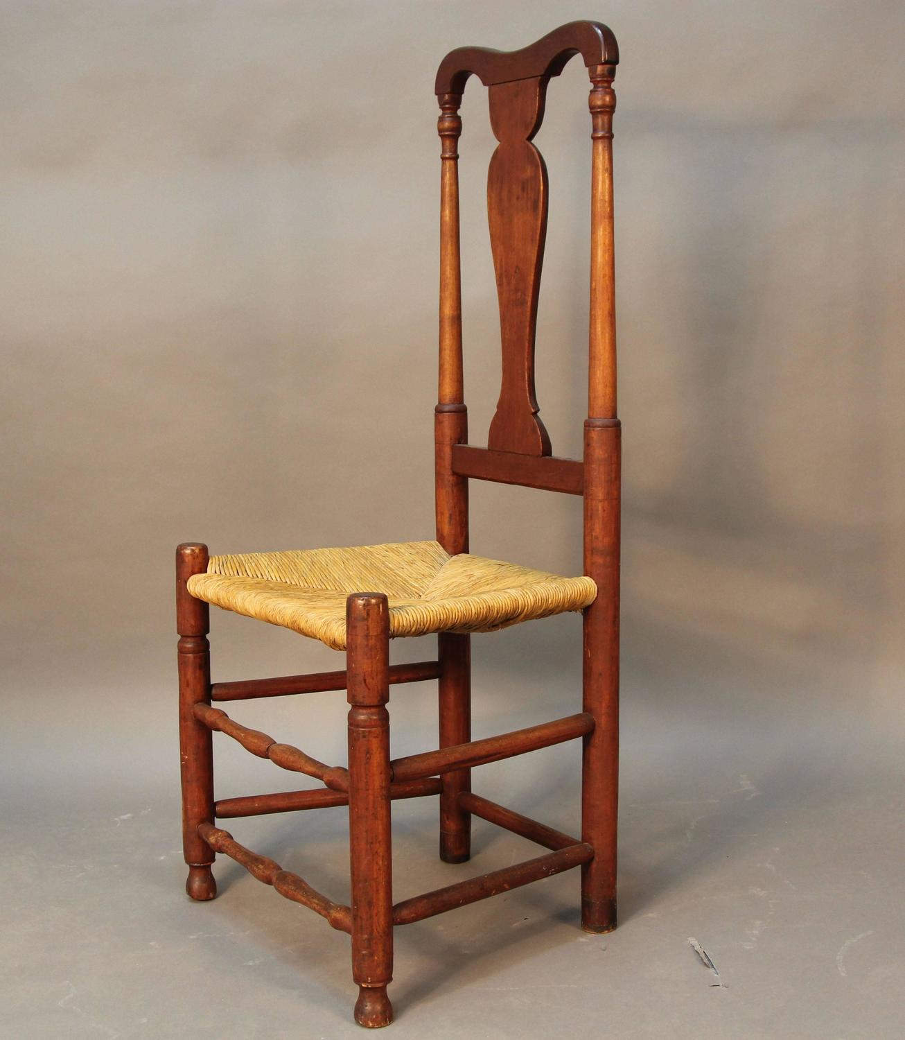 Set of eight early ct country queen anne chairs for sale