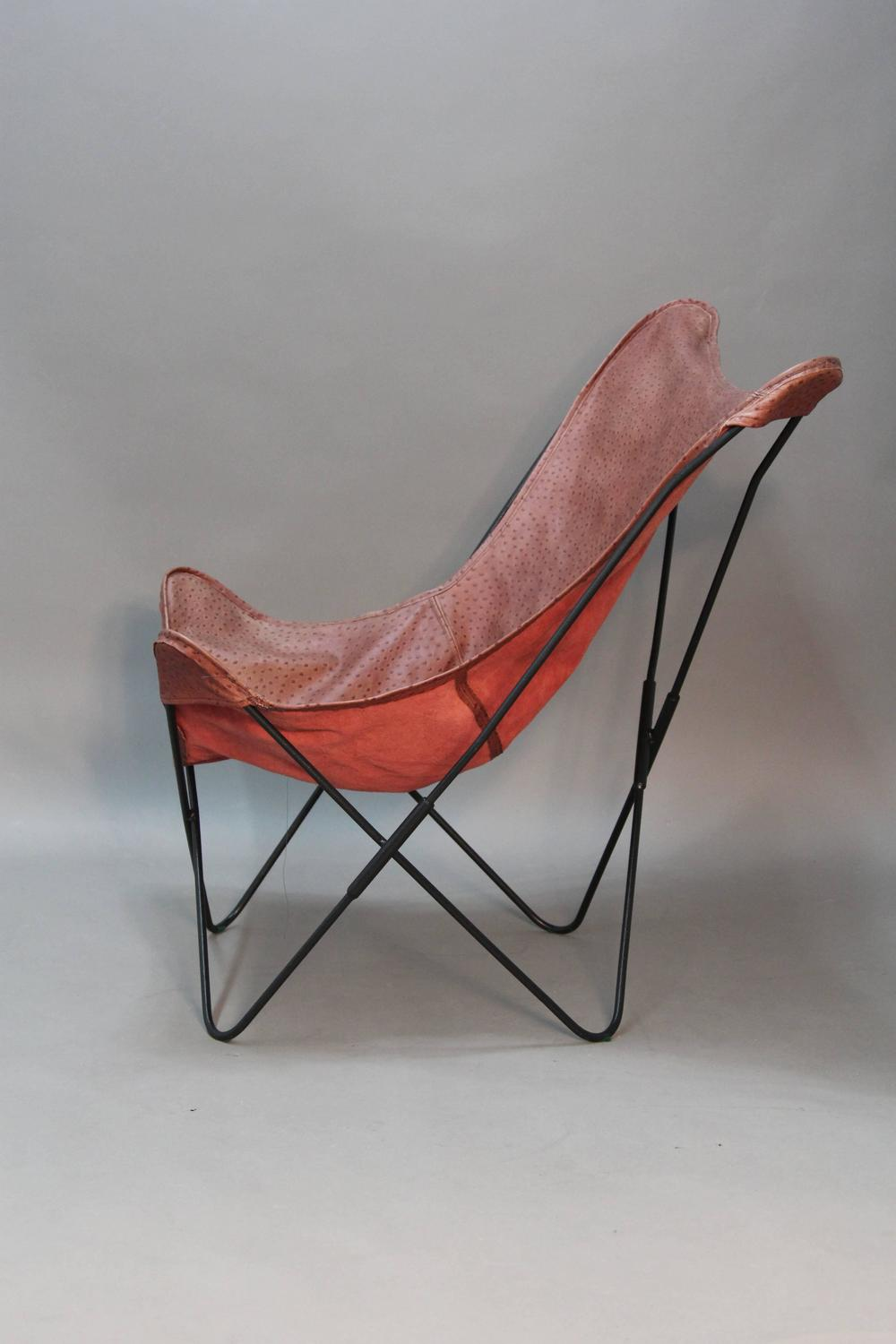 Ostrich Grain Leather Butterfly Hardoy Lounge Chair Vintage For Sale at 1stdibs