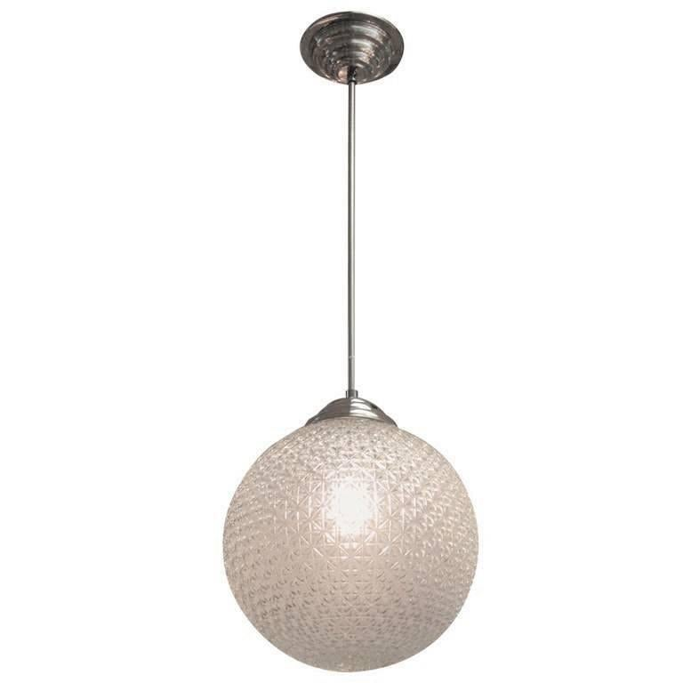 French Modern Globe Chandelier in Frosted Glass and Nickeled Bronze, 1960