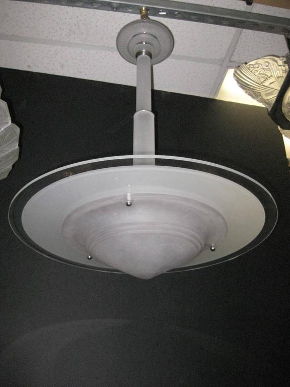 Art Deco French Modern Frosted Art Glass Chandelier with Glass Stem and Canopy For Sale