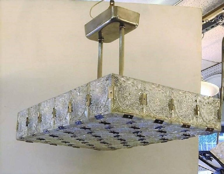Austrian Large Mid Century Modern Rectangular Chandelier In Glass And Nickel For