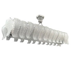 Very Large Barovier e Toso Handblown, Frosted Glass Rectangular Chandelier