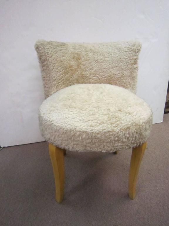 Pair Of French Faux Fur Upholstered Slipper Chairs Circa