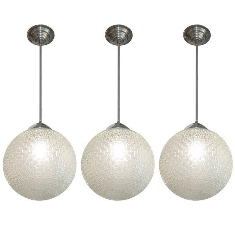 French Modernist Glass Globe Shaped Chandeliers