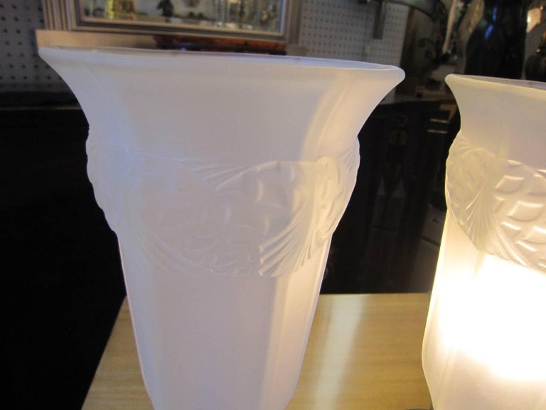 Pair or Single French Table Lamp, Frosted Glass and Nickeled Bronze For Sale 2