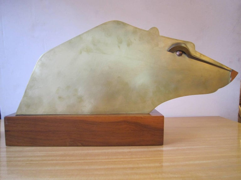 Large Modernist Austrian Brass Sculpture of a Stylized Bear on Wood Base In Good Condition For Sale In New York City, NY
