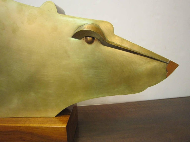 Large Modernist Austrian Brass Sculpture of a Stylized Bear on Wood Base For Sale 1