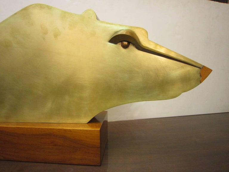 20th Century Large Modernist Austrian Brass Sculpture of a Stylized Bear on Wood Base For Sale