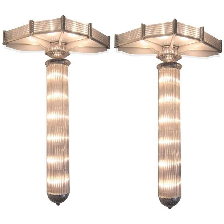 Monumental Pair of French Modernist Petitot Sconces