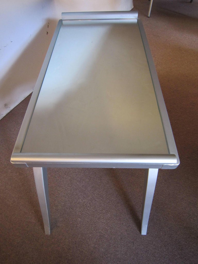 French Modern Silver Leaf Coffee Table with Mirror Top For Sale 2