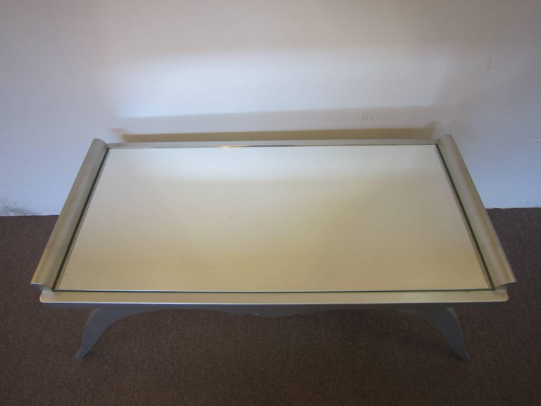 French Modern Silver Leaf Coffee Table with Mirror Top For Sale 3