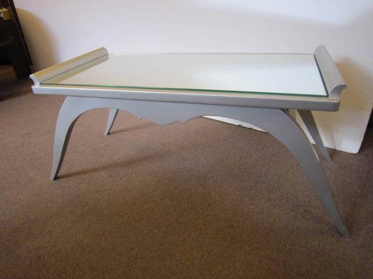 French Modern Silver Leaf Coffee Table with Mirror Top For Sale 4