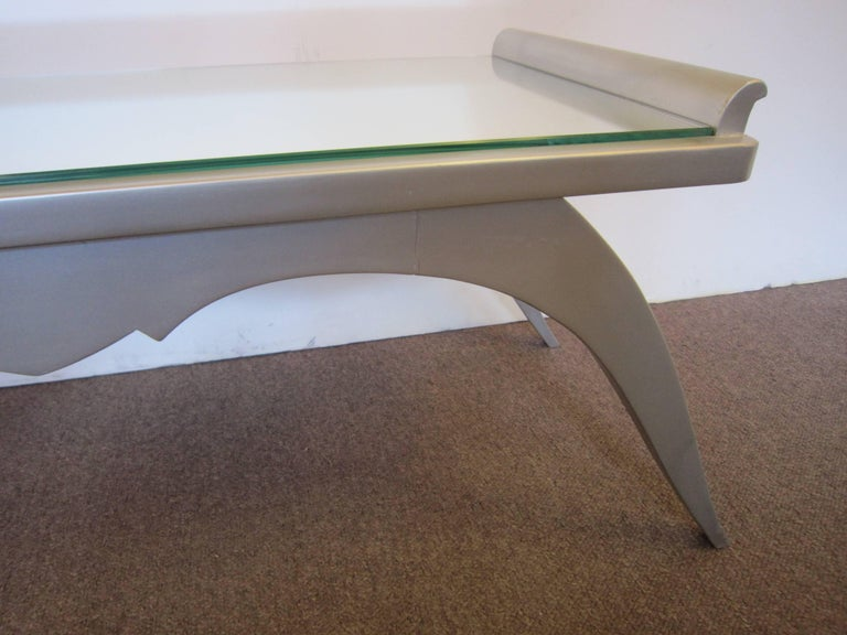20th Century French Modern Silver Leaf Coffee Table with Mirror Top For Sale