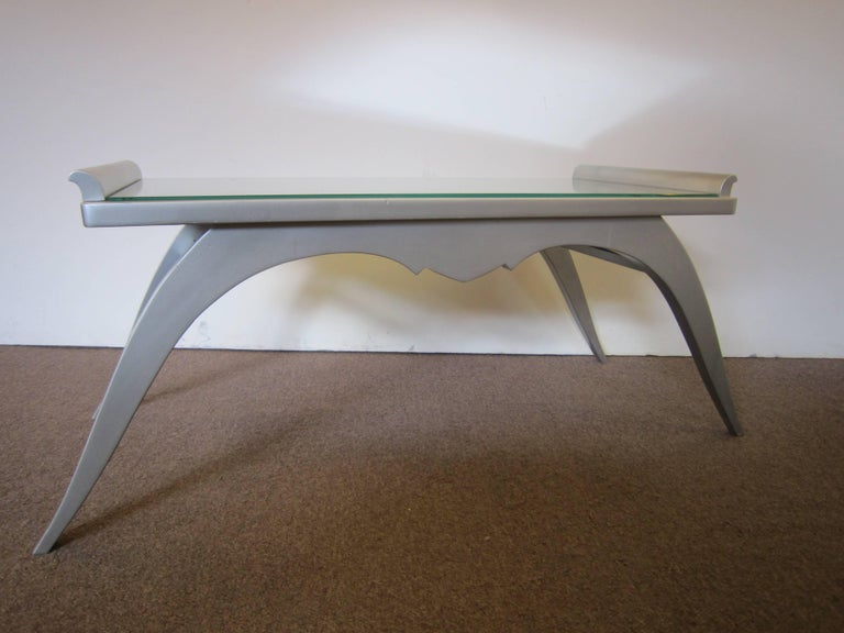 French Modern Silver Leaf Coffee Table with Mirror Top For Sale 5