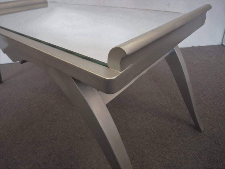 French Modern Silver Leaf Coffee Table with Mirror Top For Sale 1