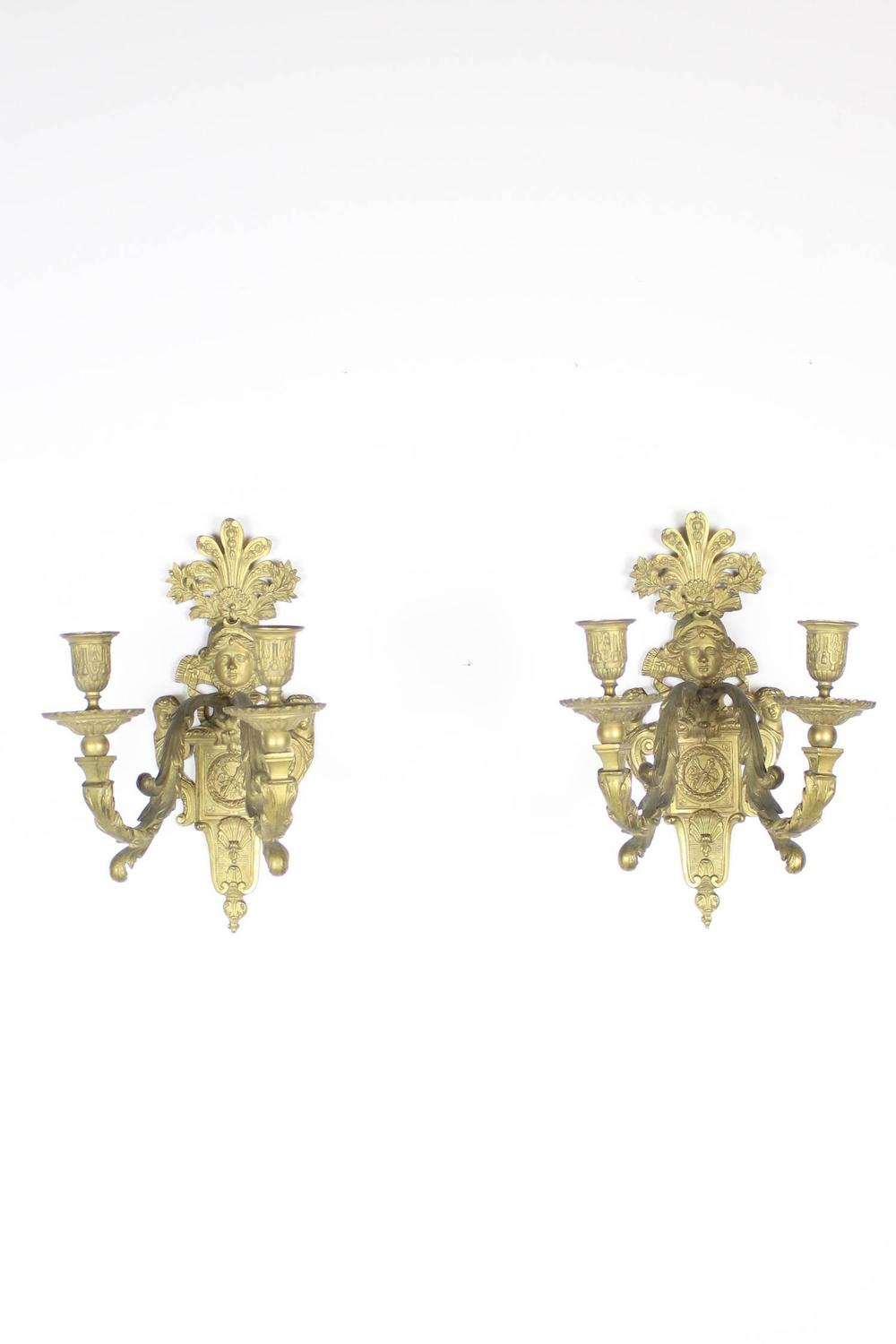Pair Of Double Arm Beaux Arts Figural Sconces For Sale At