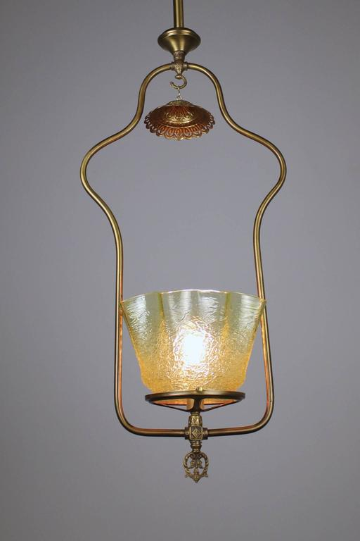 Gas Hall Harp Fixture With Art Glass Shade For Sale At 1stdibs