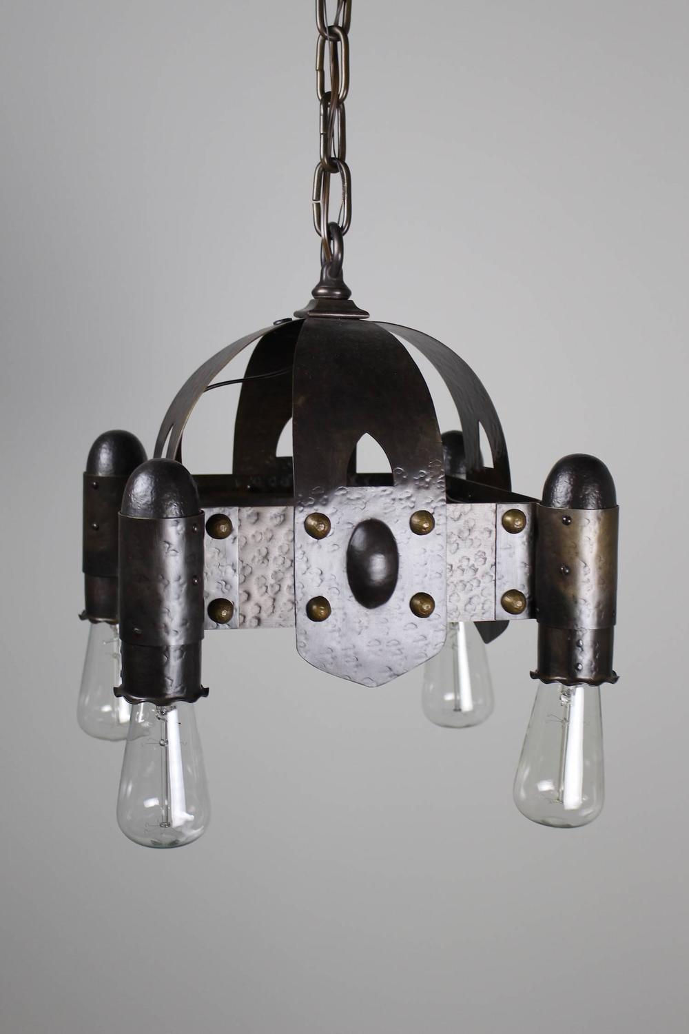 hammered brass arts and crafts four light fixture for sale