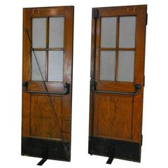 1920s Solid Oak French Doors with Brass Details