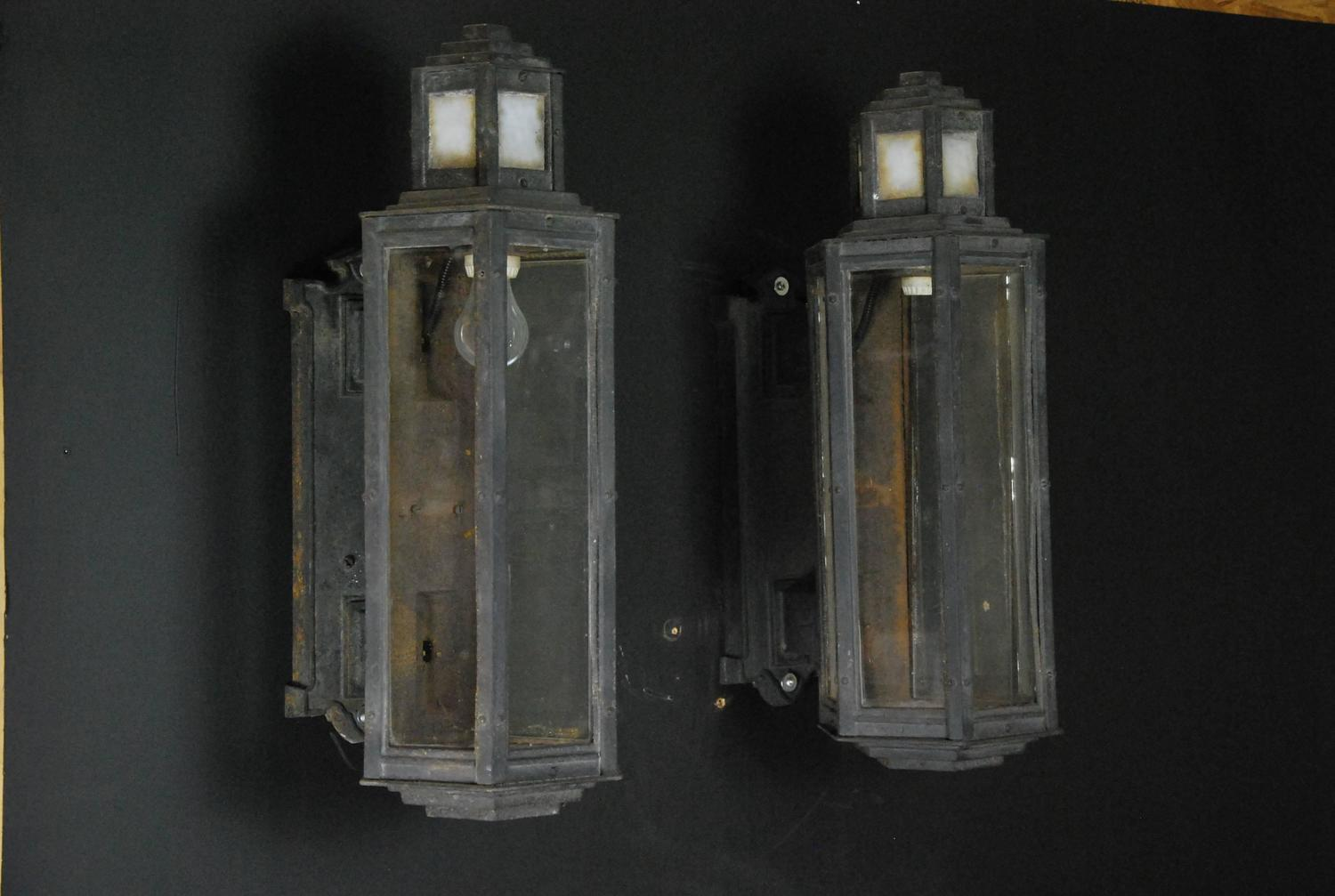 1920 Art Deco Cast Iron Outdoor Sconces For Sale at 1stdibs