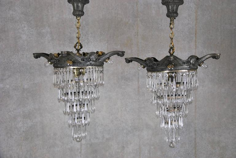 1900 Pair Of Small Glass Wedding Cake Crystal Chandeliers