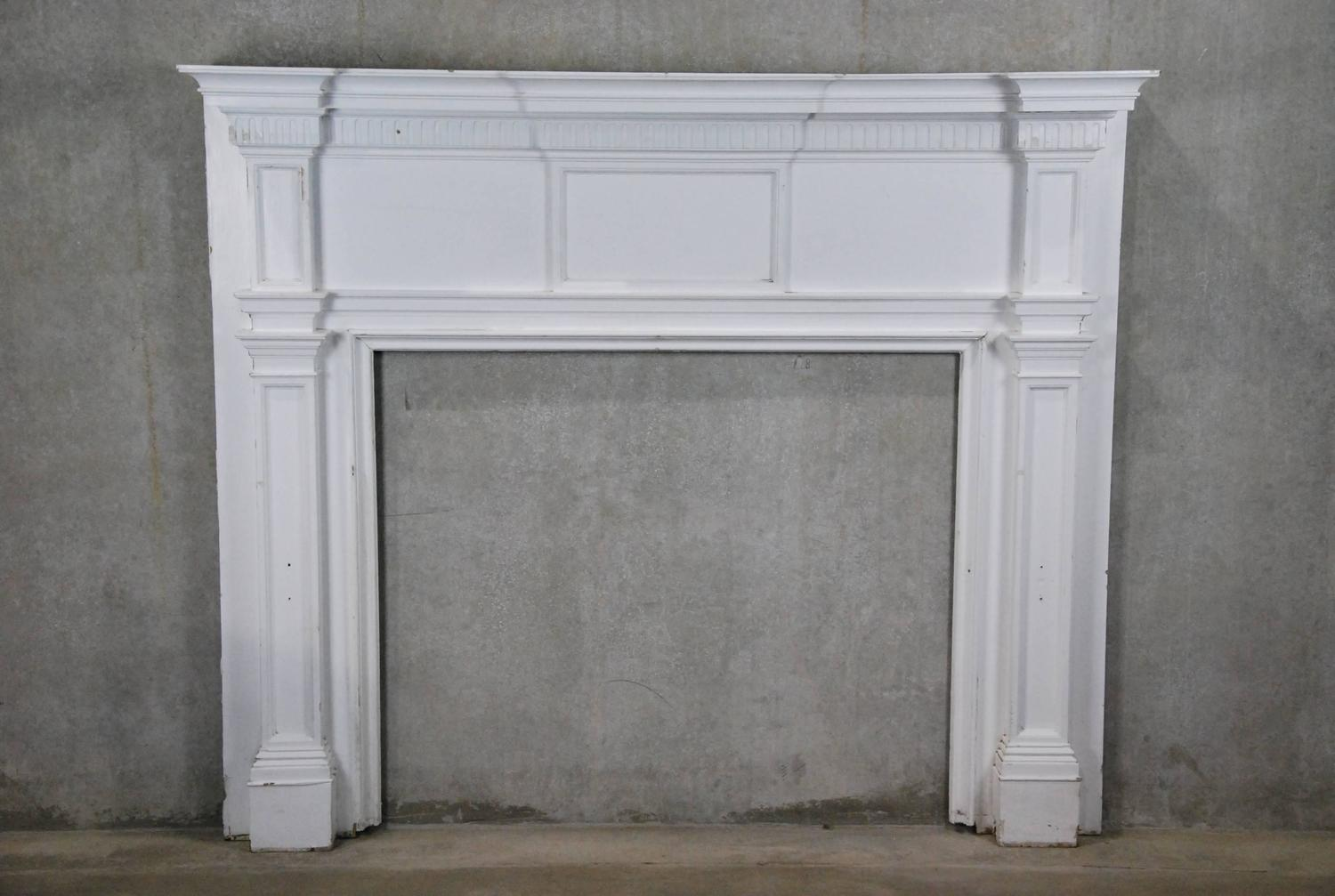 19th Century Wooden Federal Style Fireplace Surround For